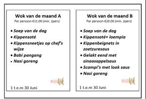 menu van de juni